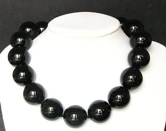 Necklace Black Onyx Giant 25mm Round Beads 925 NSNX1820