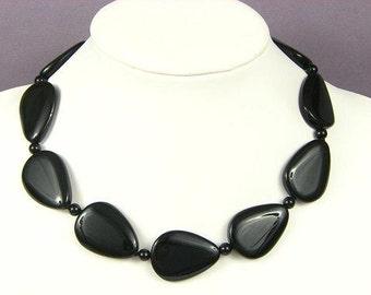 Necklace Black Onyx 35mm Pears 925 NSNX4406