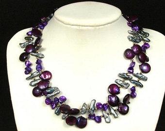 Necklace 2S Purple Biwa Brio, Sticks n Keishi Pearls NHBX0633
