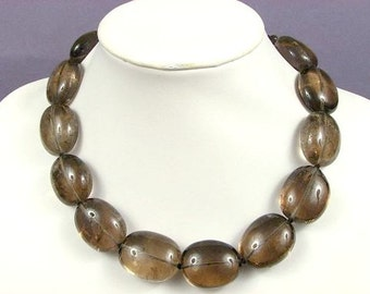 Necklace Smokey Quartz LT 30-33mm Nuggets 925 NSSQ5086