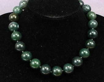 Necklace Moss Agate 18mm Round Beads 925 NSAM2907
