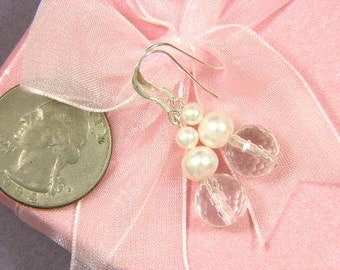 Earrings Clear Whie Quartz 10mm Face Beads n Pearls 925 EHQW0265