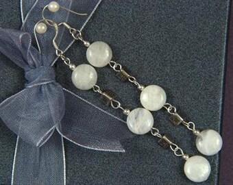 """Earrings 3x Moonstone 3.25"""" 10mm Coins 925 ESMS1238"""