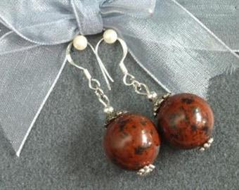 Earrings Mahogany Obsidian 16mm Round Beads 925 ESOM1644