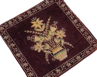 Burgundy Throw Pillow Cover w/ Artisan Zarozi Embroidery on Velvet Fabric - NH15680