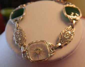 14K White Gold Camphor Glass with Diamond & Chrysoprase Filigree Bracelet- 1920's