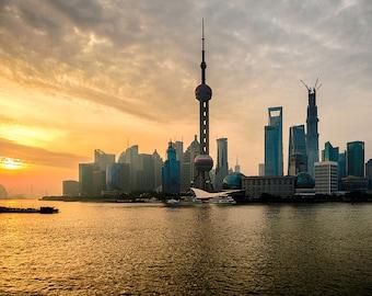Urban Landscape Fine Art Print, China, Shanghai skyscrapers at dawn
