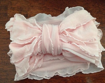 Pink Ruffle Large Bow Headband
