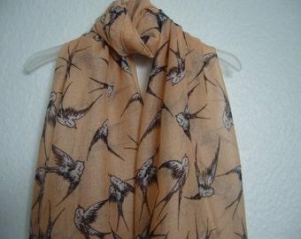 Peach Bird scarf, Bird scarf, Peach Scarf, peach Scarf, Spring Summer Scarf, For Her