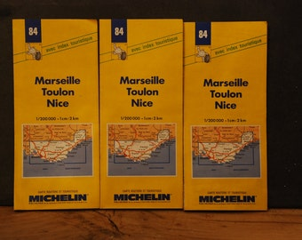 Vintage French Michelin road map. South coast of France. Marseille, Toulon, Nice. Cote d'Azur. 1994