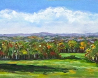 Where the Blue Begins, landscape, trees, clouds, 12 x 6, North Carolina, original pastel painting