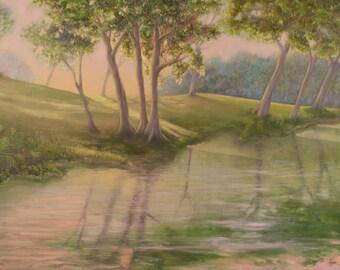 "Landscape Painting Texas Art ""Friendswood"" Oil on Canvas 36"" x 24"" x 0.625"""