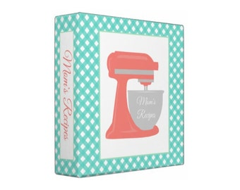 TURQUOISE CORAL Stand Mixer Personalized Recipe Organizer Binder - Perfect Bridal Shower Gift!