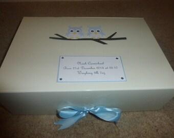 Baby Memory Box Christening Keepsake Box Pink or Blue Owl