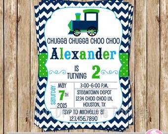 Vintage Choo Choo Train Invite-Train Birthday Invite-Choo Choo Birthday Invitation-DIY-Print Your Own-Navy-Light Blue-Green