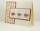 Thinking Of You Handmade Card And Coffee Cups Of Latte Love Hearts