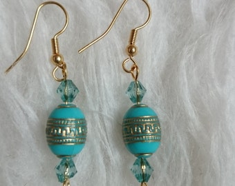 Turquoise earrings gold #69