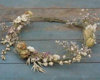 Vintage Romance Dried Flower Hair Crown
