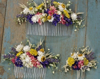 Festival Meadow Dried Flower Hair Comb