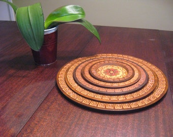 Vintage lacquered Polish Wall Hanging plates- 1980's (5 nesting plates)