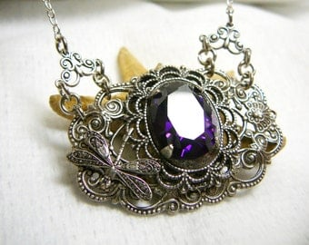 """Silver plated brass necklace """"Violet"""", fianite"""