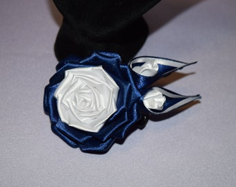 Handmade white and navy satin rose. Hair accessories. Aligator clip.
