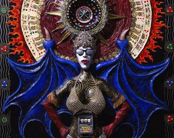Las Vegas painting / demon spirit art of Las Vegas / showgirl, goddess gambling muse / original artwork by Skee Goedhart