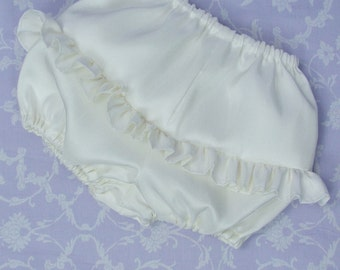 Frilly Silk Christening Bloomers by Okika made in England