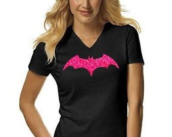Batgirl Glitter Women's V-neck Shirt
