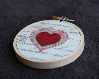Red Felt Heart on a 3 inch Embroidery Hoop