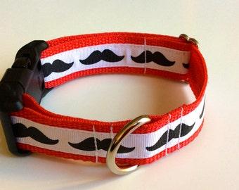 Mustache Print Adjustable Collar