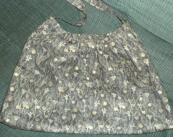 Lovely grey print cotton shoulder bag