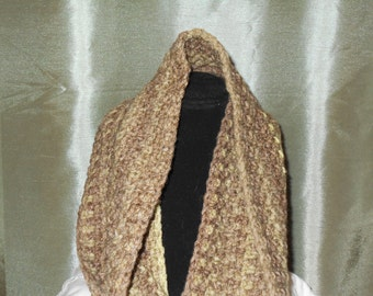 Croched Green Tweed Wool Scarf
