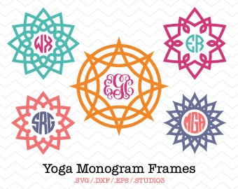 Yoga Circle Monogram Frames (SVG, DXF, EPS, Studio3) Mandala Monogram Cutting File for use with Silhouette Studio, Cricut, Vinyl Cutters
