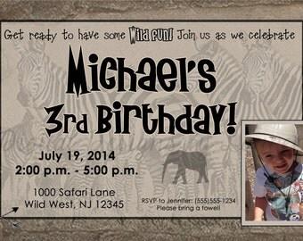 Safari Themed Birthday Invitation // Printable Digital File // Kids Birthday