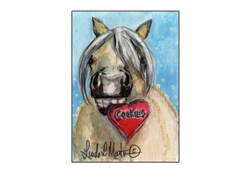 Palomino Pony Valentines Day llmartin Original ACEO  Watercolor