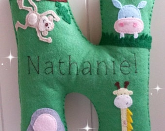 Felt personalised extra large letter in jungle theme, nursery decor - made to order