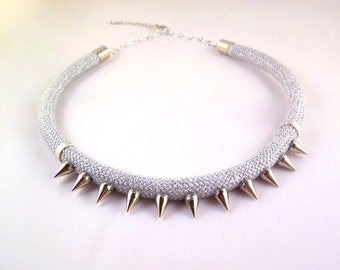 Silver spiked rope statement necklace punk rock hardware