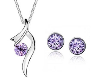 Amethyst Necklace Earring set
