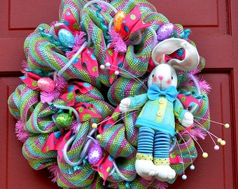 Here Come Peter Cotton Tail Easter Bunny Wreath 22 inches