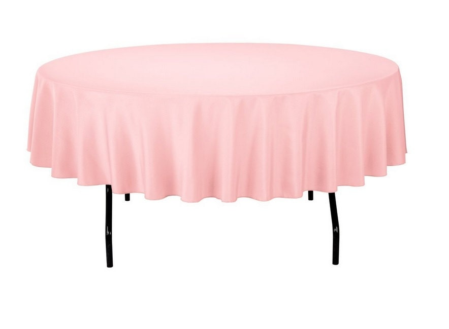 Pink Round Polyester 90 Inch Tablecloth Banquet Polyester