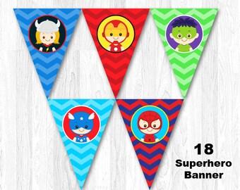 Superhero Birthday Party Banner, Superhero Banner, Superhero Bunting
