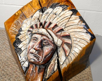 Indian Carving Native American Chief, Indian Chief Oak Carving on Recycled Timber Oil Painted Relief Carving, Native American Carving