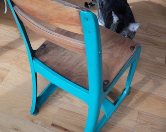 A TIME OUT PRAYER Chair, Vintage Preschool Sized School Chair, Aqua Blue Painted Metal Form with wooden seat and back in original condition