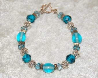 Aqua & Bright Silver Bead Bracelet