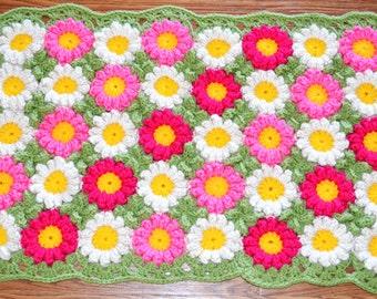Handmade.Hand Knitting Crochet Flowers-Rug (65x40cm)