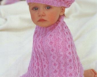 Knitting Pattern Child s Beret : Aran poncho pattern Etsy