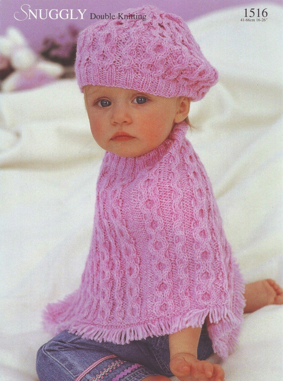 Knitted Beret Pattern Toddler : Knit cabled Poncho and Beret Vintage Knitting Pattern Size