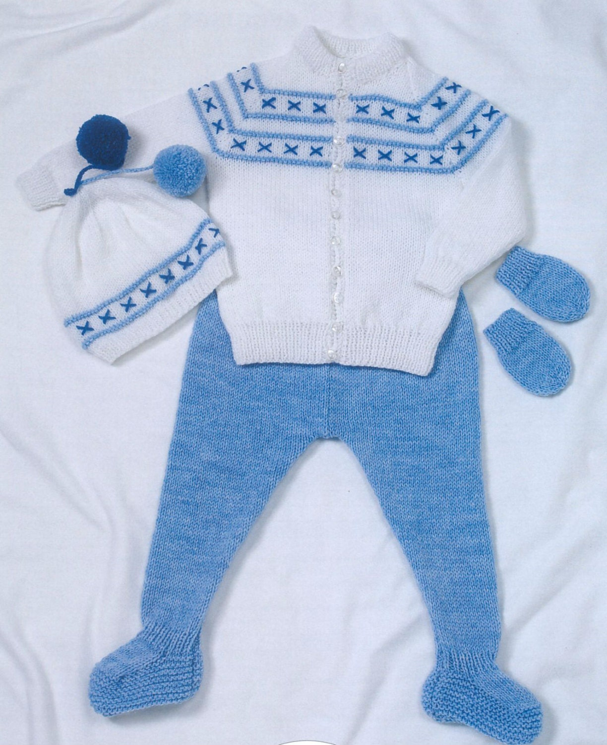 Knit Baby Jacket Leggings Hat and Mitts Vintage Pattern