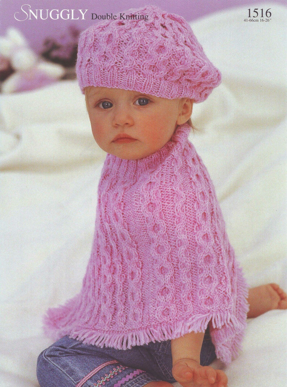 Knit cabled Poncho and Beret Vintage Knitting Pattern Size